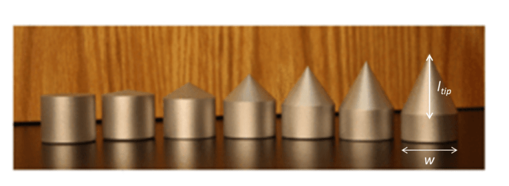 An image of seven intruders used in the experiment, ranging from a blunt intruder to an intruder with a conical top.