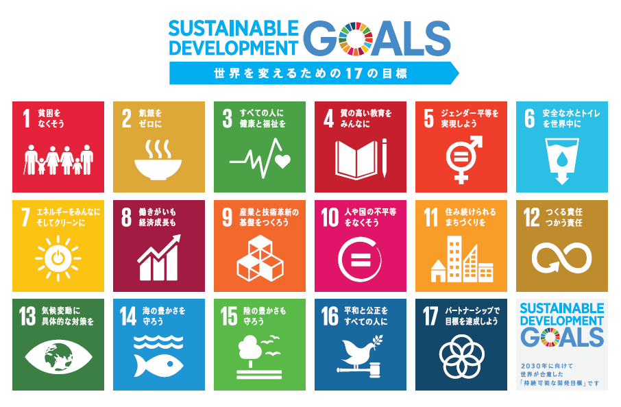 SDGs:Sustainable Development Goals(持続可能な開発目標)