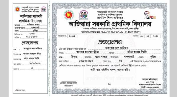 PECE Certificate or Primary Prottoyon Potro 2020 Format 01: