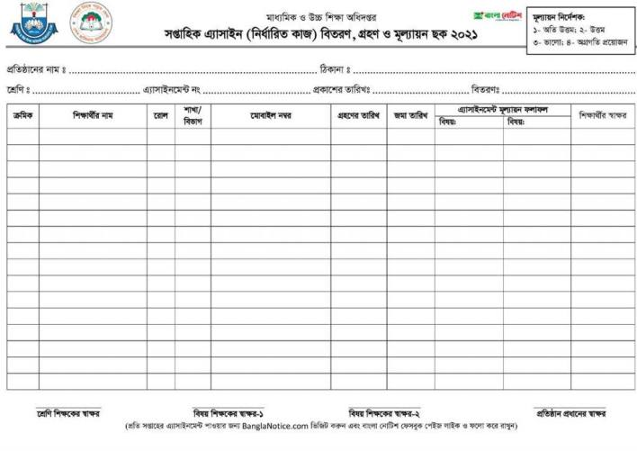 Weekly Assignment Distribution, Acceptance and Evaluation Table 2021 Download
