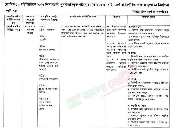 Class Seven 2nd week Bangladesh and Global Studies BGS assignment 2021 JPG and PDF