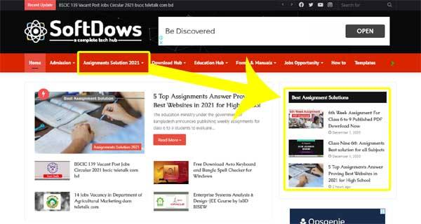 Classwise Subject Based Assignments Answer by SoftDows.com