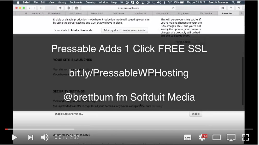 (VIDEO) Not just a free SSL certificate but free setup on your Pressable site too!
