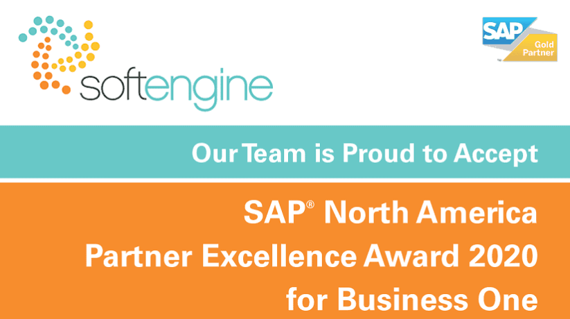 Softengine Receives SAP® North America Partner Excellence Award 2020 for SAP Business One