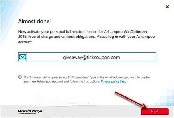Ashampoo Win Optimizer 2019 giveaway gratis create account