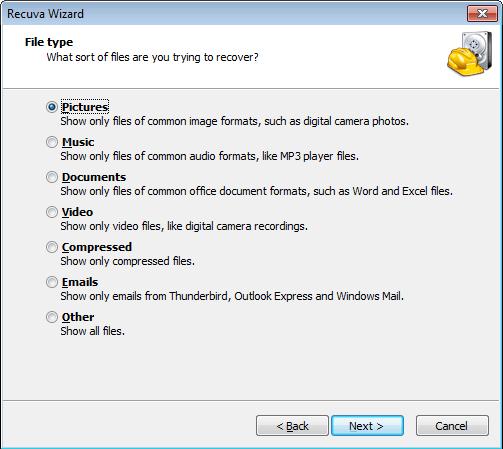 Recuva File Types