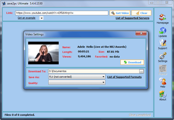 Save2PC Ultimate Download Interface V5.4