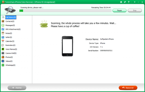 Iphone data recovery interface