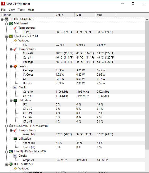 computer temperature monitor windows 10