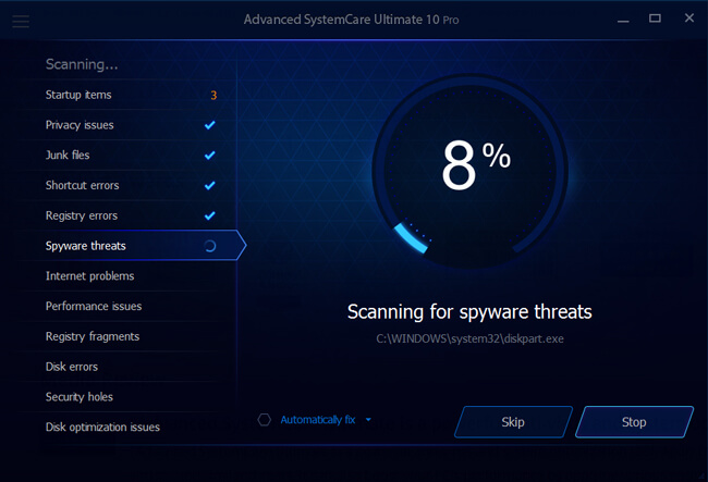 Scanning for threats 10 ultimate Pro