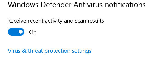 Disable Defender Antivirus Recent activity and scan results