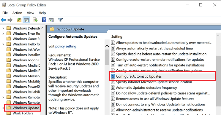 How to stop automatic updates using the Local Group Policy Editor - gpedit.msc windows 10