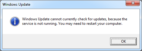 windows 7 update not working service not running