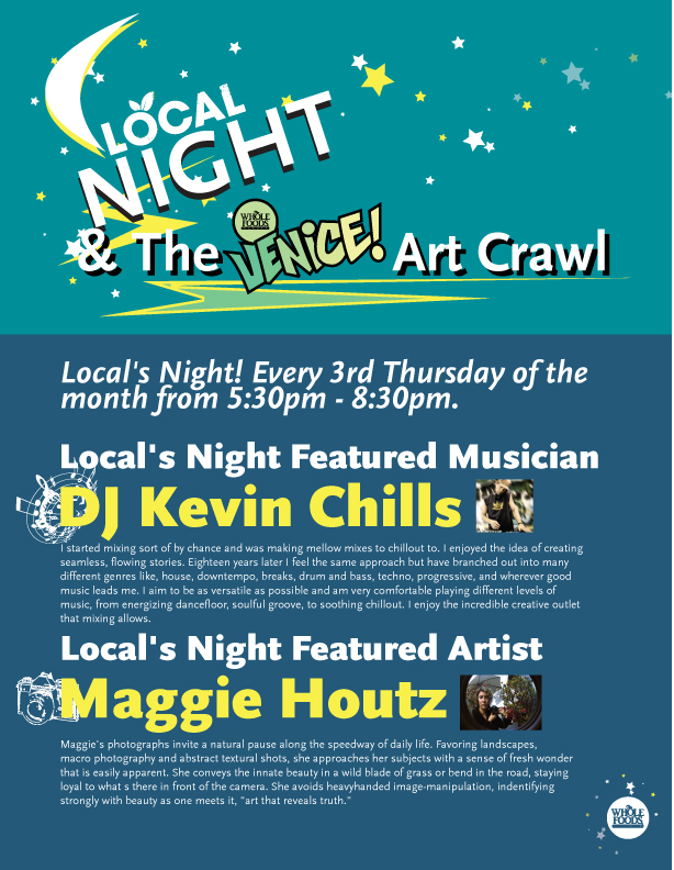 Flyer for upcoming Locals Night at Whole Foods