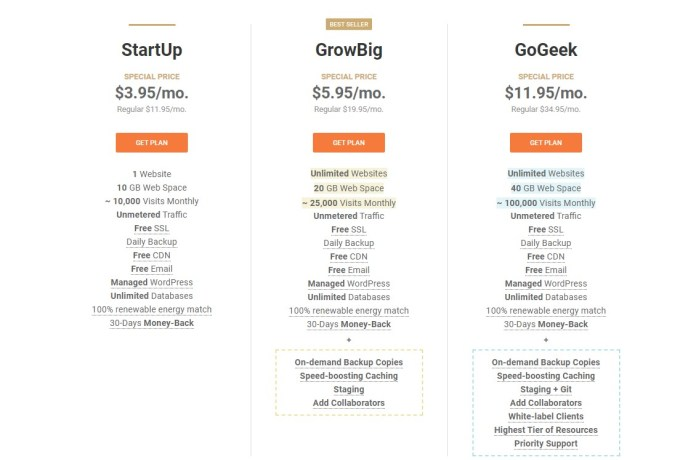 Web Hosting Pricing siteground