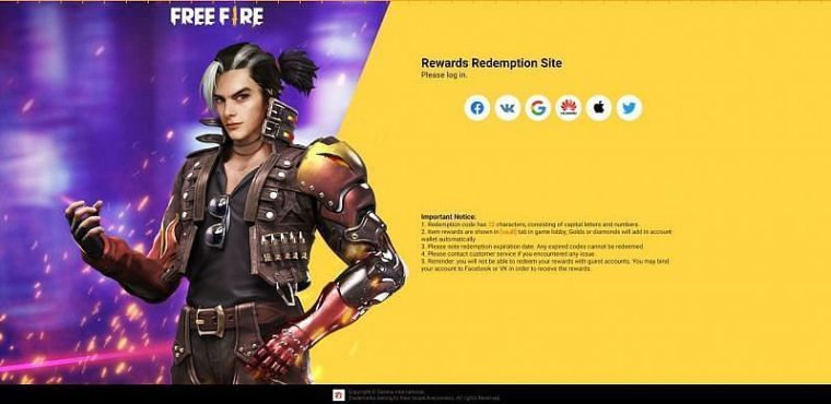 Garena Free Fire redeem code for today