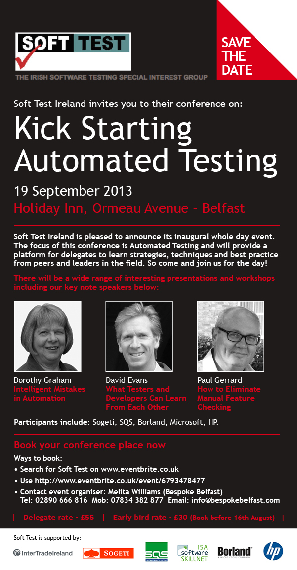 SoftTest Automation Conference 19th September Belfast