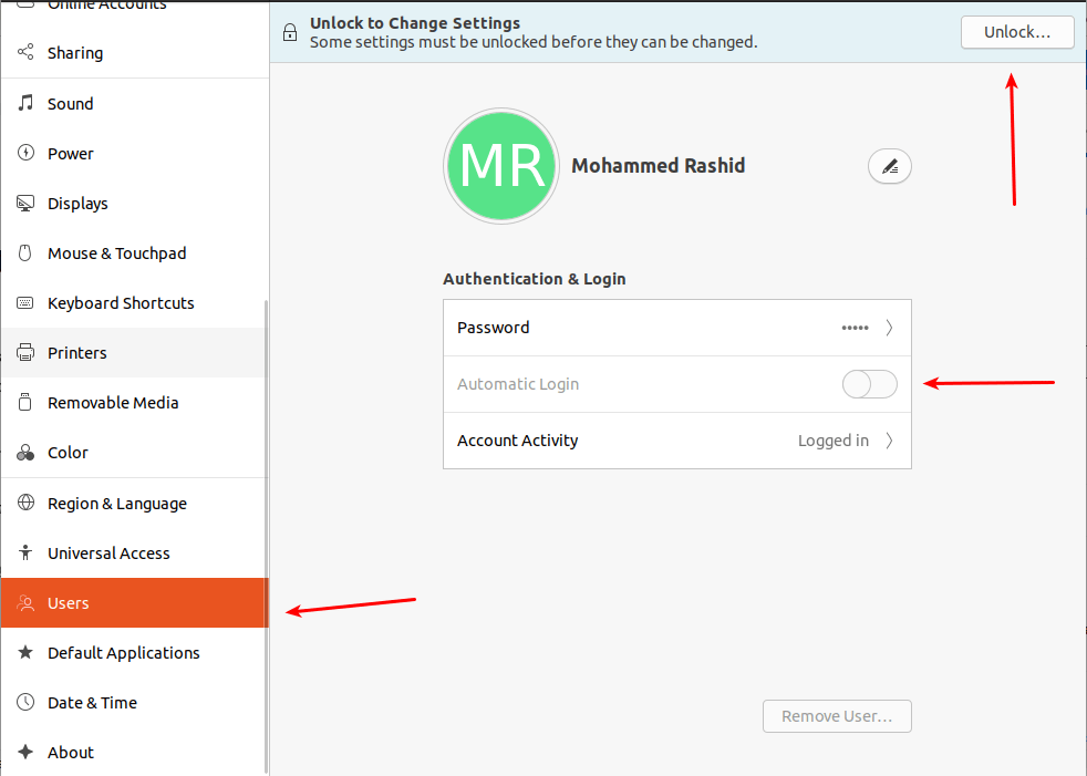 Ubuntu automatic login