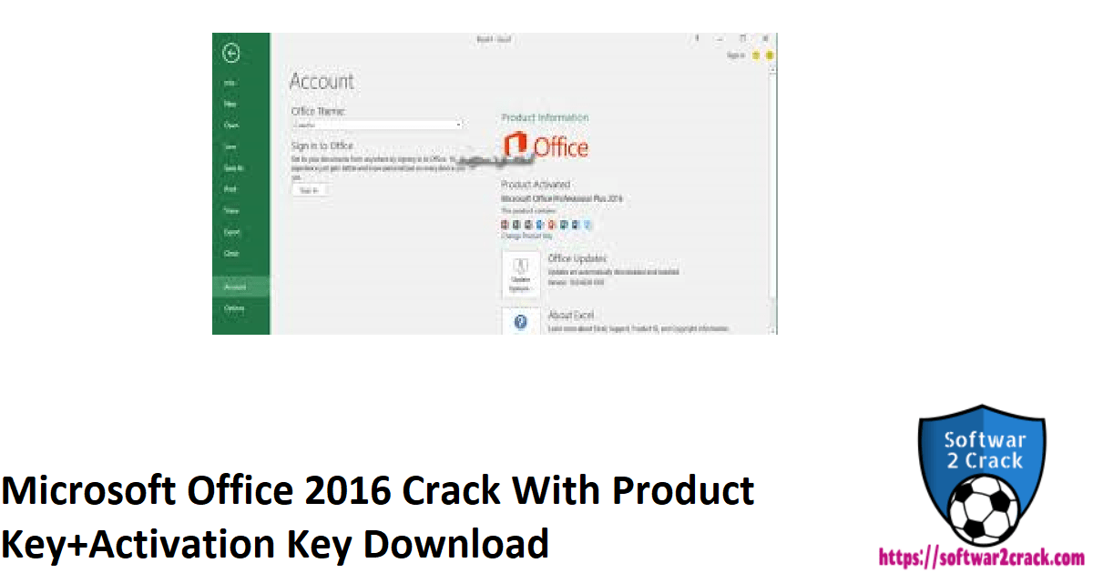 Microsoft Office 2016 Crack With Product Key+Activation Key Download