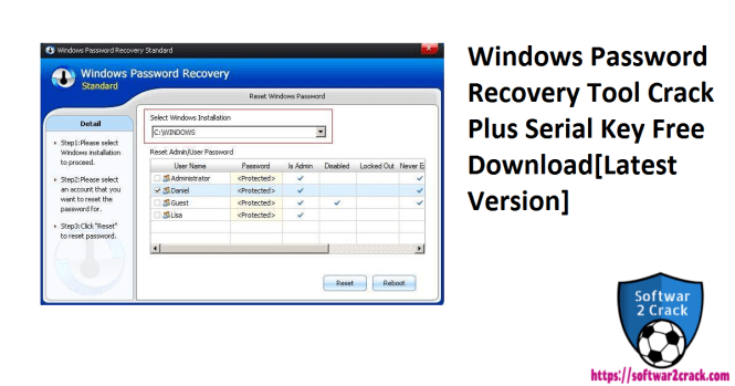 Windows Password Recovery Tool Crack Plus Serial Key Free Download[Latest Version]