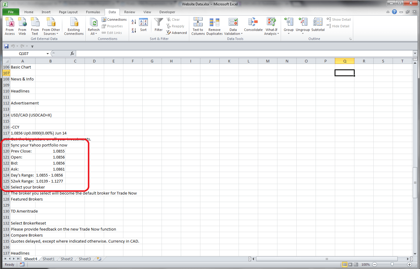 Excel Vba Retrieving Data From A Website Using A Query Table