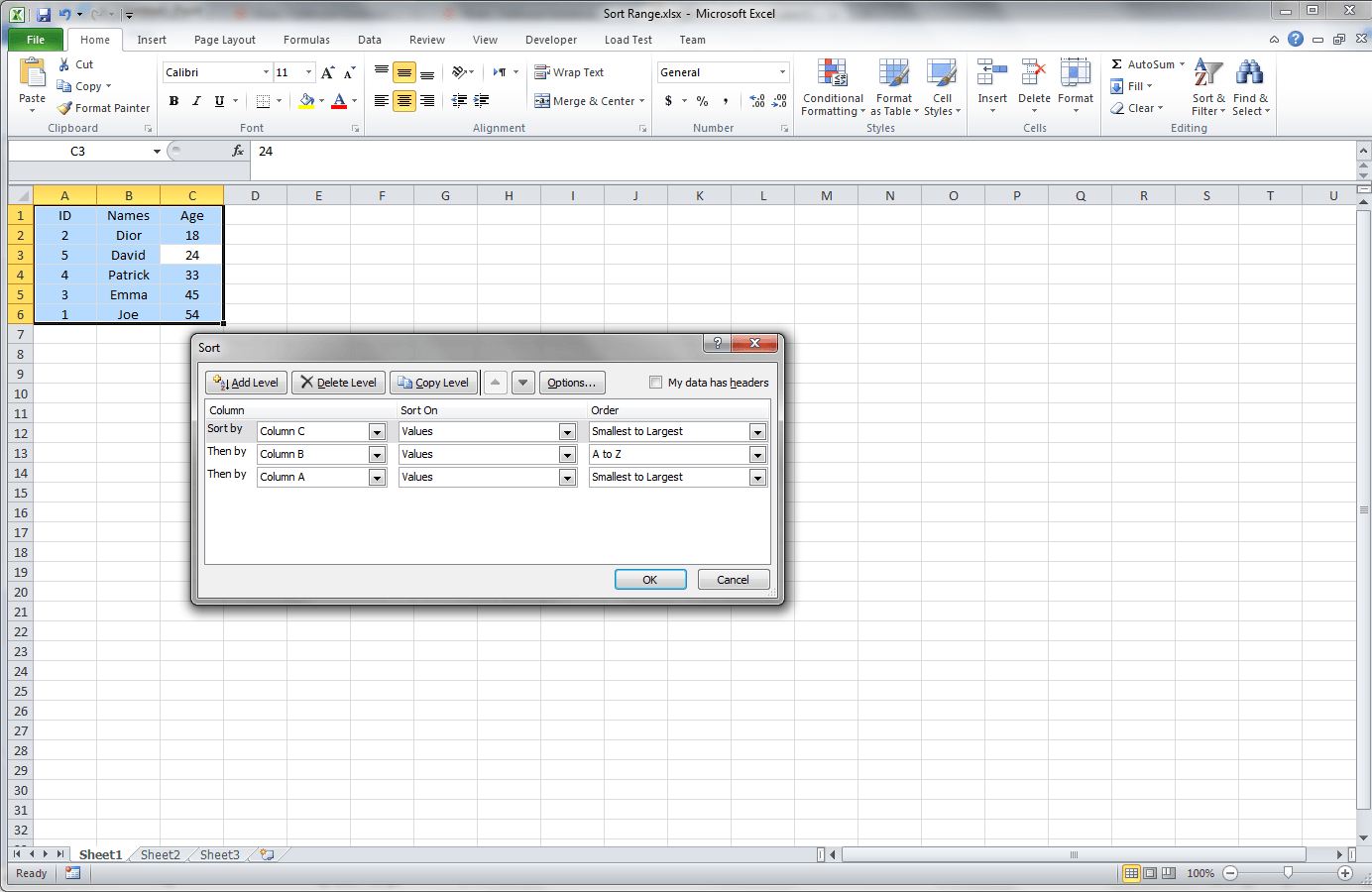 Sort A Range Of Cells In Excel Using Vba