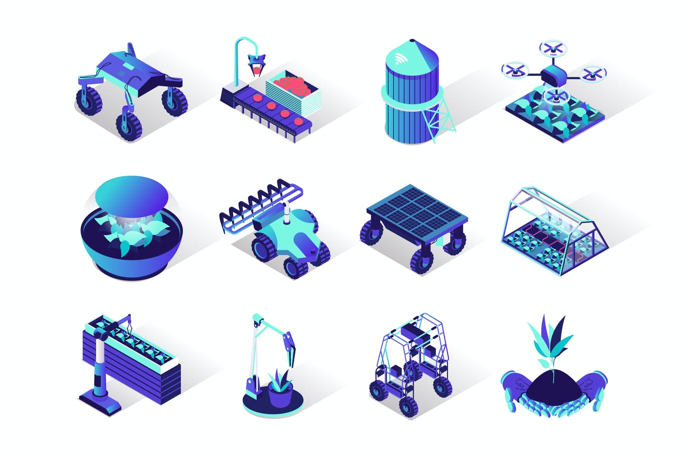 Agriculture Robotisation Isometric Icons Set