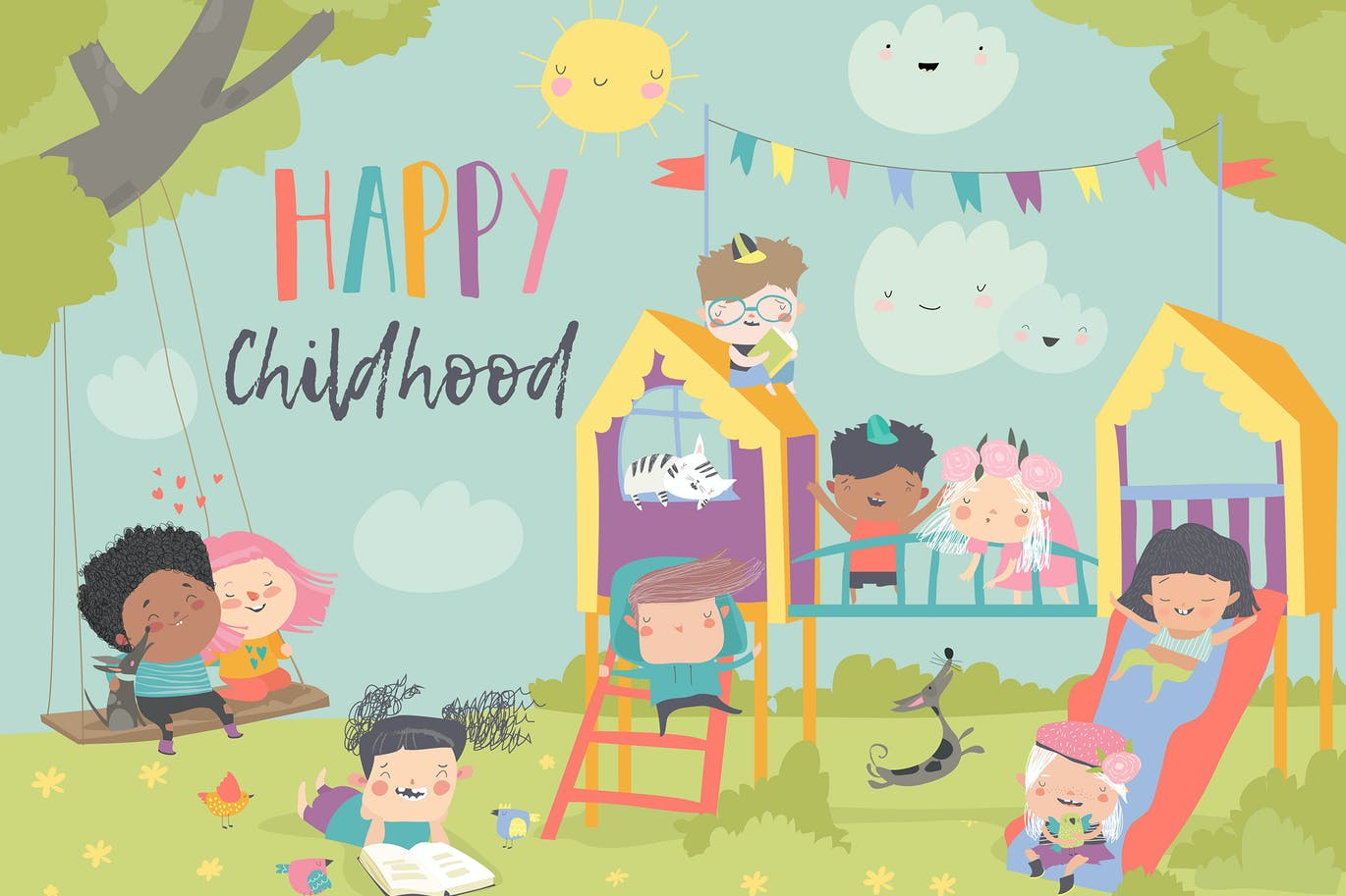 Children playing at playgroung. Vector illustratio