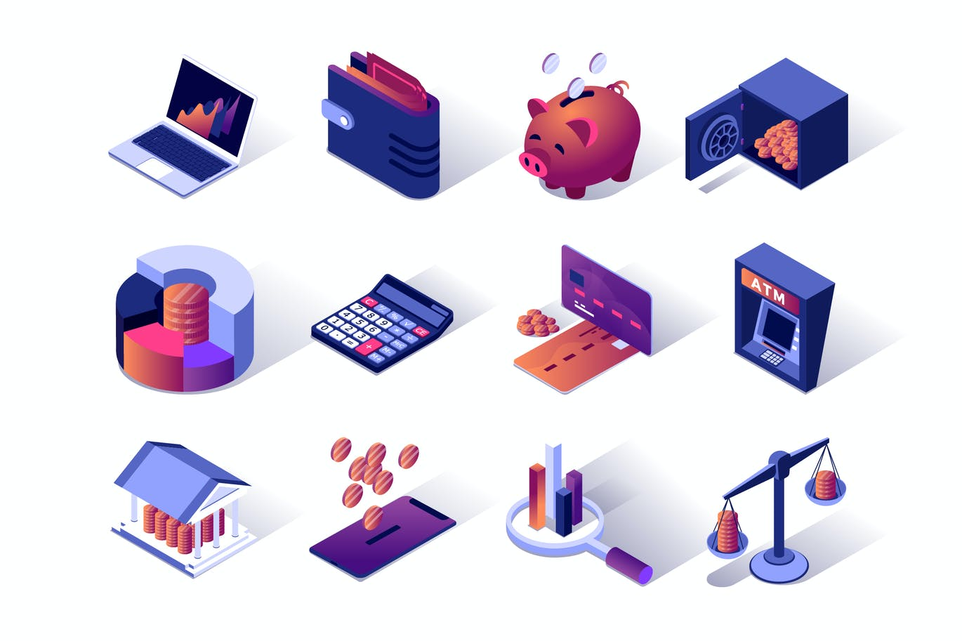 Financial Management Isometric Icons Set