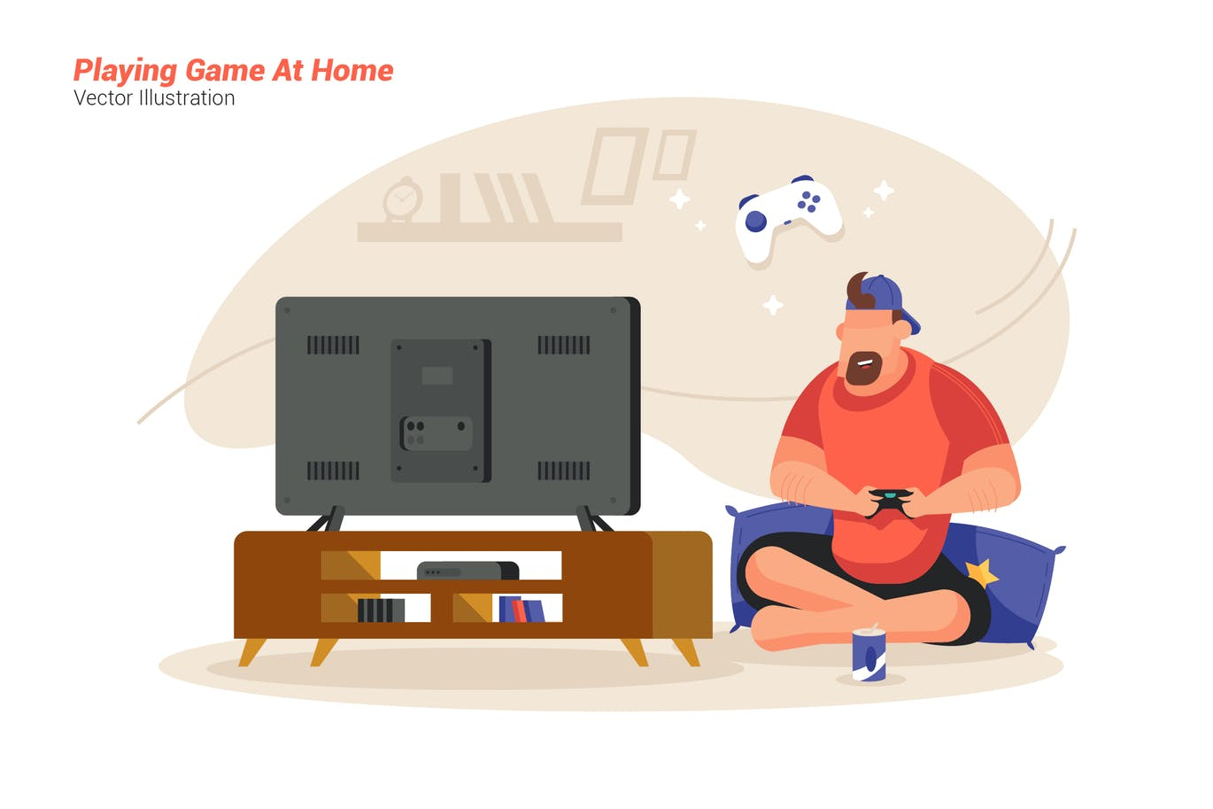 Game At Home - Vector Illustration