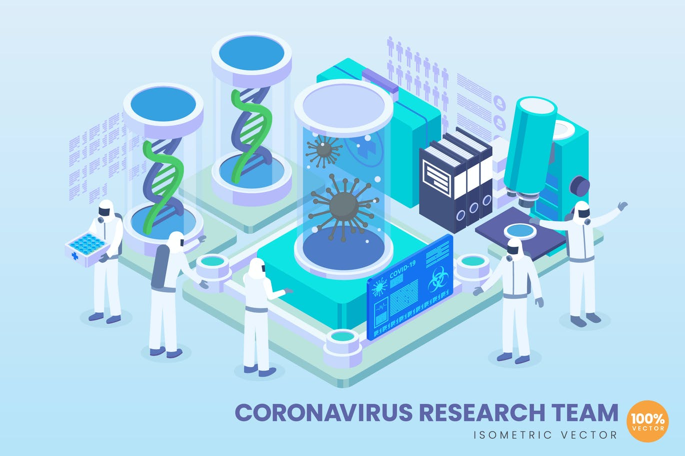 Isometric Corona Virus Research Team Vector