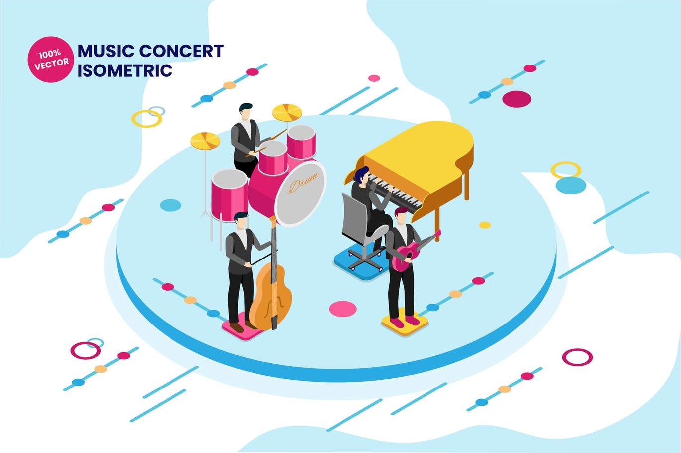 Isometric Music Concert Vector Illustration