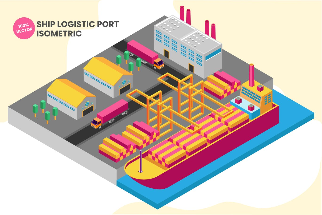 Isometric Ship Logistic Port Vector Illustration