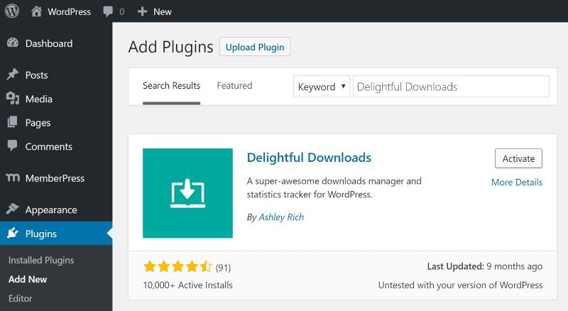 WordPress download manager plugin