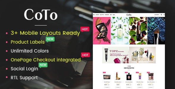 Coto - template of the online cosmetics store OpenCart