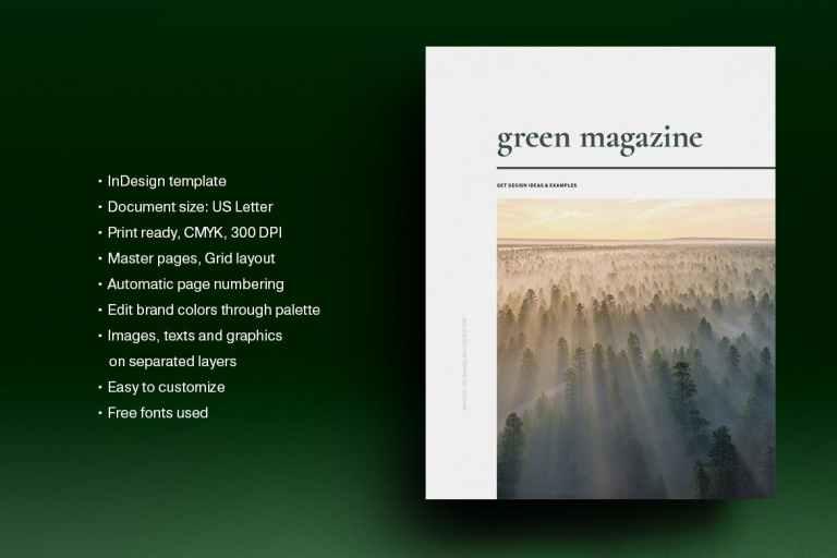 Green Natural Magazine Template