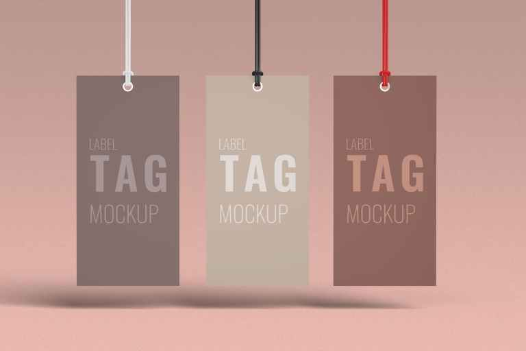 Three Clothes Label Tag Mockup Front View