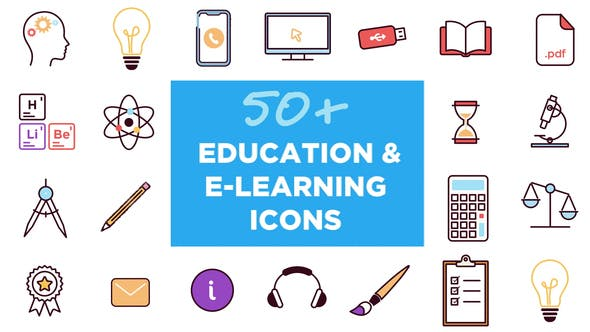50+ Animated Icons for Education and E-learning