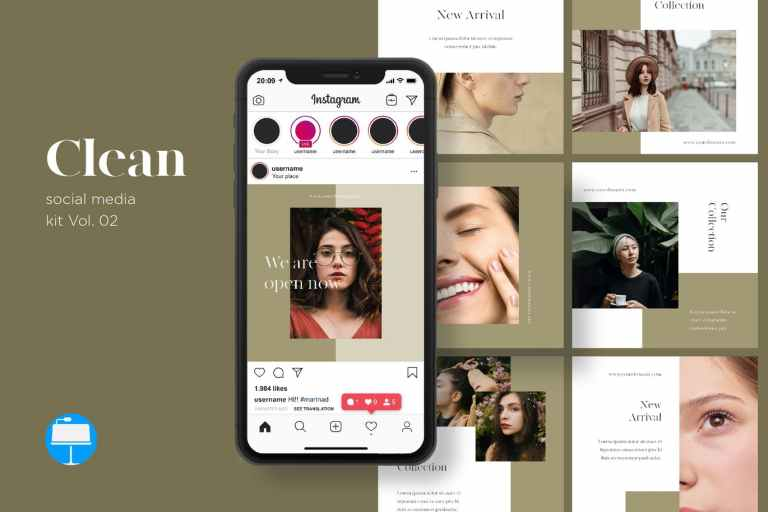 Clean Social Media Kit Vol. 02 - Keynote