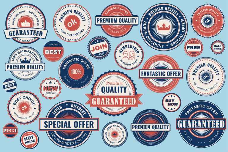 Collection Retro Sale Labels Social Media Ads