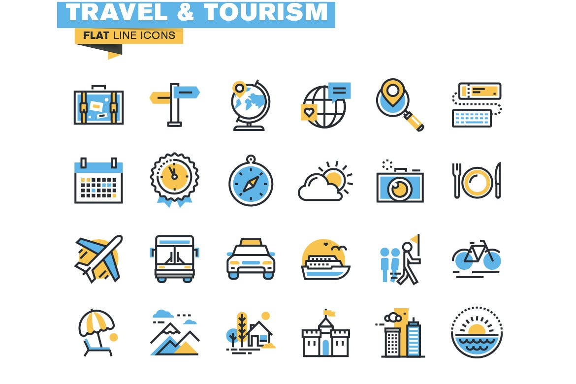 Flat line colorful icons collection