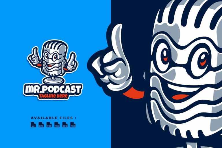 Mr. Podcast Cartoon Logo