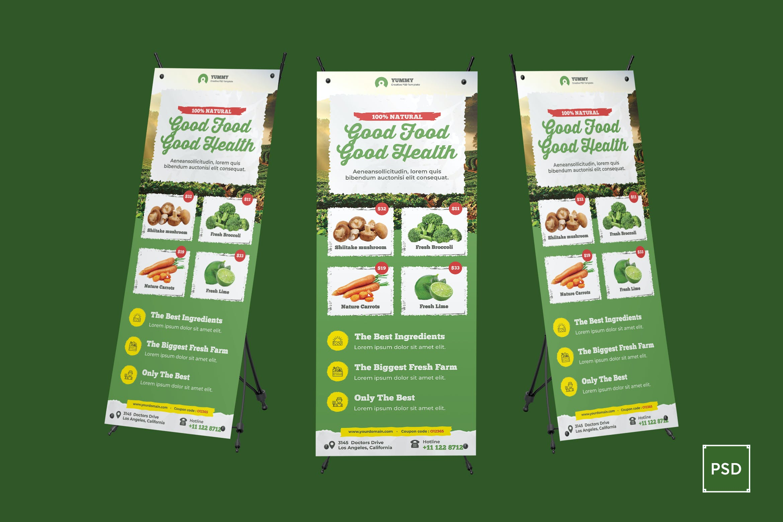 Organic Market Fresh Food Rollup Banner