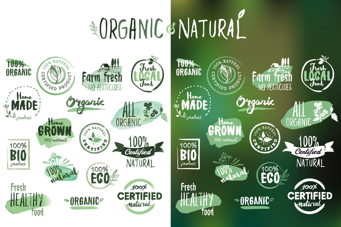 Organic products stickers and badges