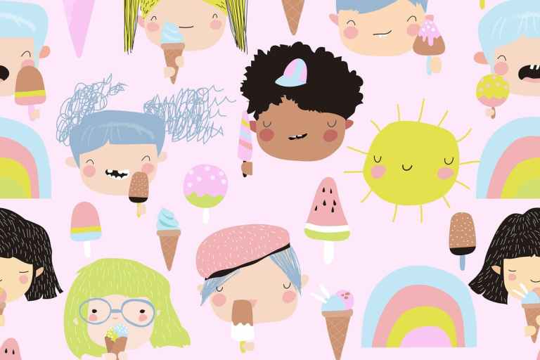 Vector seamless pattern of cute kid faces with ice