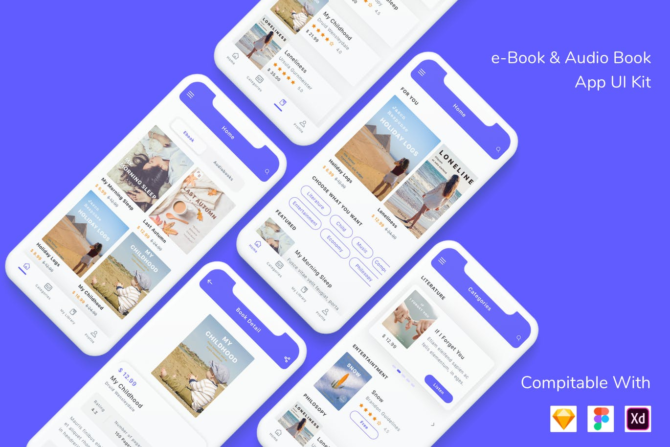 e-Book & Audio Book App UI Kit