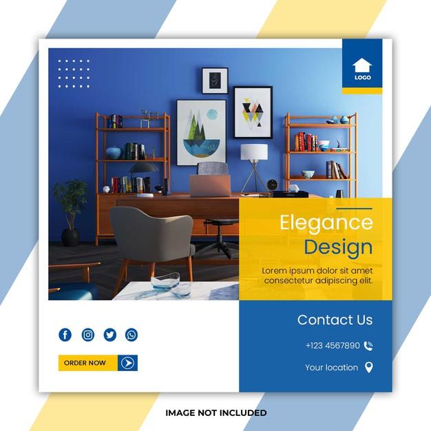 Elegance home furniture social media post templates Premium Psd