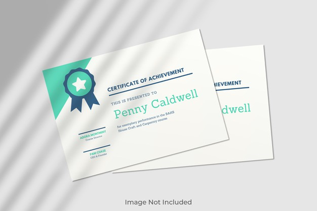 Elegant certificate mockup with shadow