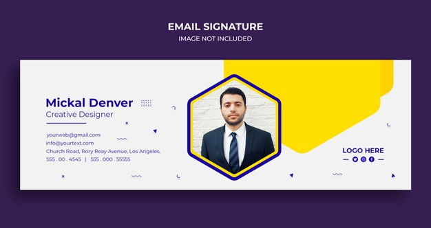 Email signature template design or email footer and personal social media cover Premium Psd