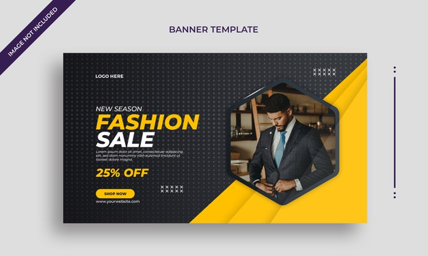 Fashion sale simple horizontal web banner template